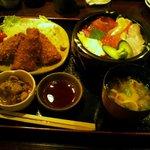素材食楽「和」 - 海鮮丼&アジフライハーフ