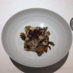98779987 - 真鱈白子の炙り、秋刀魚のビスク