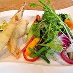 トラットリア レット - マコモダケとささみのフリット 季節の野菜と共に