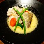 98804391 - 鳥取産真鱈と白子の蒸し焼き 柚子バターのソース