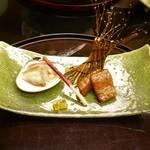 日本料理 対い鶴 - 蛤汐焼きと前沢オガタ牛山椒焼き