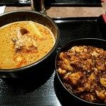 炎麻堂 - 坦々麺半分とミニ豆腐丼