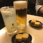 あじいち - 生ビールと生グレープフルーツサワー(各税込500円)