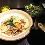 98853864 - 豚と野菜とキノコのちゃんちゃん焼きランチ