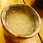 日本酒とお万菜 じゃんけんポン - 最後に一口味噌汁出てきました。