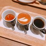 COFFEE VALLEY - 3PEAKS  600円  ※右からドリップコーヒー、エスプレッソマキアート、エスプレッソ