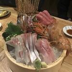 98871550 - お刺身盛合せ(くえ、鯛、ブリ、本マグロ、ボタン海老、鰺、鰹)