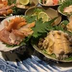 活貝 日本酒 おばんざい 福島おちび - あわび、赤貝アップ