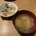 活貝 日本酒 おばんざい 福島おちび - 牡蠣の釜めし、蛤の味噌汁