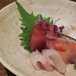 日本料理 香せり - 3800円のコース 刺身→刺盛(イシダイ・天ブリ・北海ダコ・赤貝 ・ ヤリイカ)