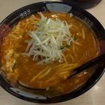 トマトラーメンと辛めん 三味 - 辛麺0辛・もやし増し(上から)