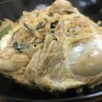 豊福 - たまごでとじた牡蠣は、うどん出汁で煮込まれています(2018.12.23)