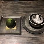 ザ・ヴイアールルーム・キョート - 料理写真:抹茶チーズケーキ&ブラックバニラフレーバーラテ2