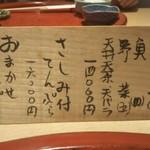 Fukamachi - メニューはコレだけ!