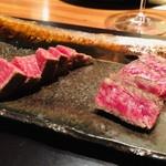 98972651 - 川岸牧場産神戸牛ロースのステーキ 鹿児島黒牛フィレのステーキ