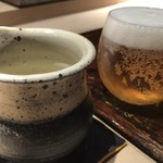 菊鮨 - ビール(小)と横山五十