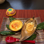 和 あすか - 水菓子 栗ブリュレ 、くわいせんべい栗ゆず餡ハサミ