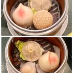 中国レストラン 雪園 - 点心セット (小籠包・桃まんじゅう・胡麻団子) (小籠包・桃まんじゅう・海老蒸し餃子)