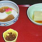 蓮月茶や - 生麩のしぐれ煮、滝川豆冨、かにみそ豆富