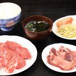 焼肉苑 - 料理写真:ロース・カルビに上タンを加えて¥180円で食べれるミックス定食です