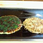 お好み焼き 一休 - (写真左)あめりかん玉(大) (写真右)モダンそば豚 530円