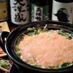 越後一会 十郎 - 料理写真:1.2月朝日豚の明太とろろ鍋と佐渡産真鱈の白子天ぷらで新年会プラン