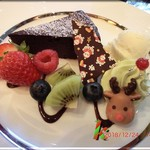 99012601 - デザート・・濃厚チョコレートケーキ クリスマススタイル