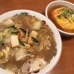 天下一品 - スペシャルセット ラーメン(並)は潮彩、天津飯(or炒飯)、(+唐揚げ)