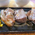 シカ肉レストラン あぷかの森 - ステーキ3種(左からロース、ヒレ、ランプ)
