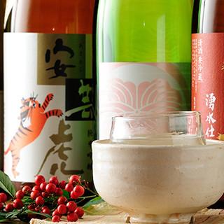 貴重な地酒や旬の日本酒が多数スタンバイ。焼酎やワインも◎