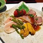 恵手得亭 - 淡路鶏ハムと海鮮の前菜