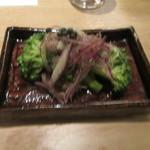 蕎麦前 山都 - 「砂肝とブロッコリーの黒胡椒マリネ」