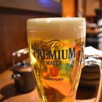炭火焼肉 たけのうち - 生ビール(ザ・プレミアム・モルツ)