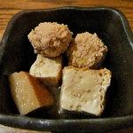 旬菜 籐や - お通し(鶏団子の煮物)