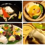 日本料理 梅林 - 左上:椀物、左下:お造り、右上:焼物、右下:焼物(牡蠣)