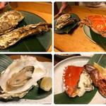 日本料理 梅林 - 左上:特選(牡蠣)、左下:特選(牡蠣)、右上:特選(調理前)、右下:特選(蟹)