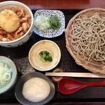 蕎麦うえ田 - ざると桜海老と半熟卵の天丼¥1500+¥100十割そば +¥100とろろ
