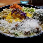 99124275 - スパイシーチキンカレー定食+季節のポテトサラダ+チーズ