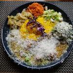 99124286 - スパイシーチキンカレー定食+季節のポテトサラダ+チーズ