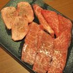 焼肉ホルモン 山水縁 - 特選盛り(厚切り生タン塩・上カルビ・上ロース)