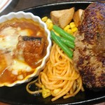 ステーキ。山 - ポーク煮込みと  ハンバーグ
