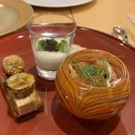 Shimanamifurenchimurakami - ◆前菜3種(愛媛県産キャビア、フォア             グラとバナナ、オマール海老)
