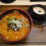 テンテンとタンタン - 料理写真:ピーナッツ担担麺(羽島店限定)+正式杏仁豆腐セット
