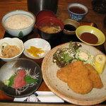 和食ふじわら - 料理写真:ヘレカツ定食A (ヘレカツ・造り・小鉢・御飯・味噌汁・漬物) 800円
