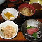 和食ふじわら - 料理写真:ヘレカツ定食Aの 造り・小鉢・味噌汁・漬物