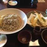 そば処 松 - 天ぷらもりそば(海老、野菜)