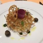 99177783 - 和歌山県産足赤エビと本日の鮮魚の重ね焼き