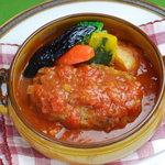 のんびりーと - トマトシチューハンバーグ ライス(パン)味噌汁(スープ)付 990円