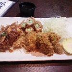 ぬすく - 料理写真:串揚5点盛り(ヒレ・鶏・アスパラ巻・野菜2点)