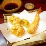 天作 - たら白子 天ぷら ¥550 海老 天ぷら 1本 ¥270